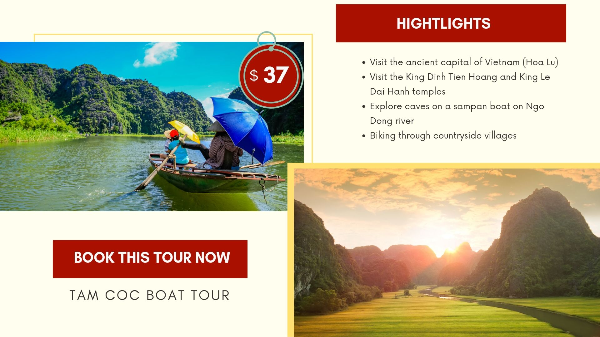 Tam Coc boat tour