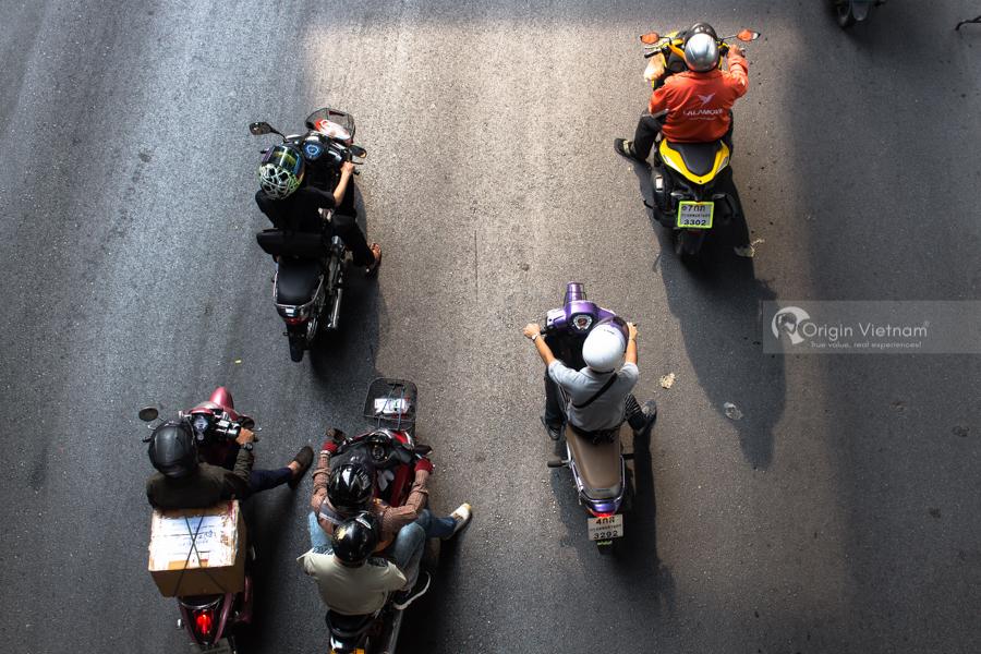 Hanoi Traffic with lots of motorbike