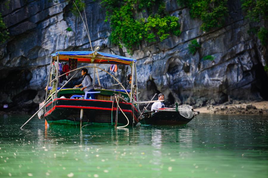 Fisherman boat in Bai Tu Long Bay