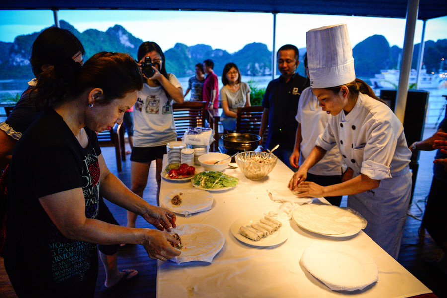 Cooking class activity on overnight cruise