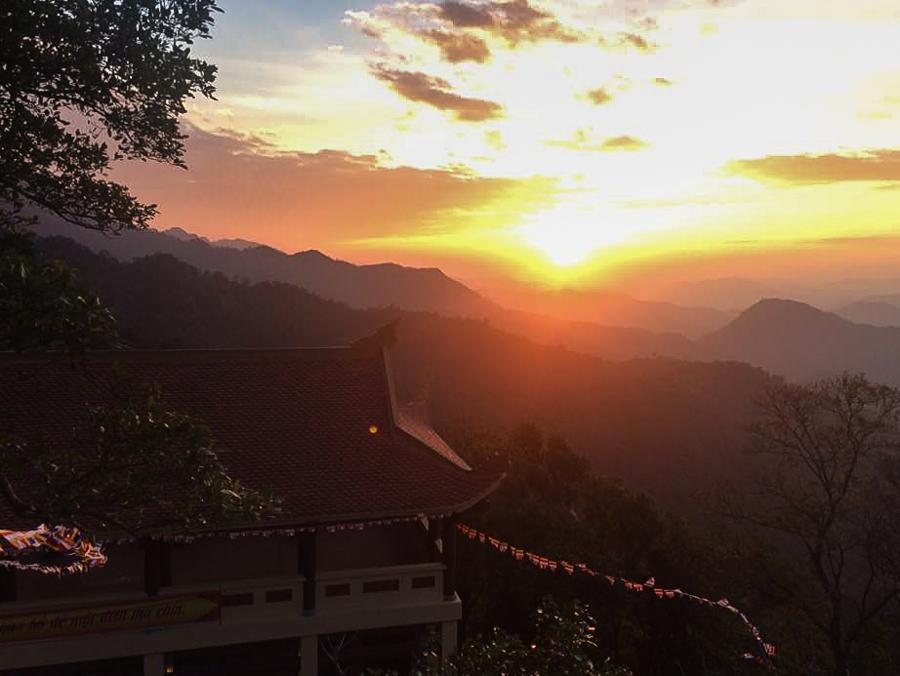 Image sunset on Yen Tu Mountain