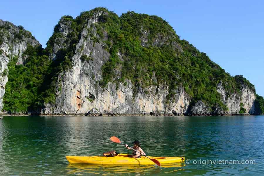 Kayaking in Dau Be island in Halong Bay