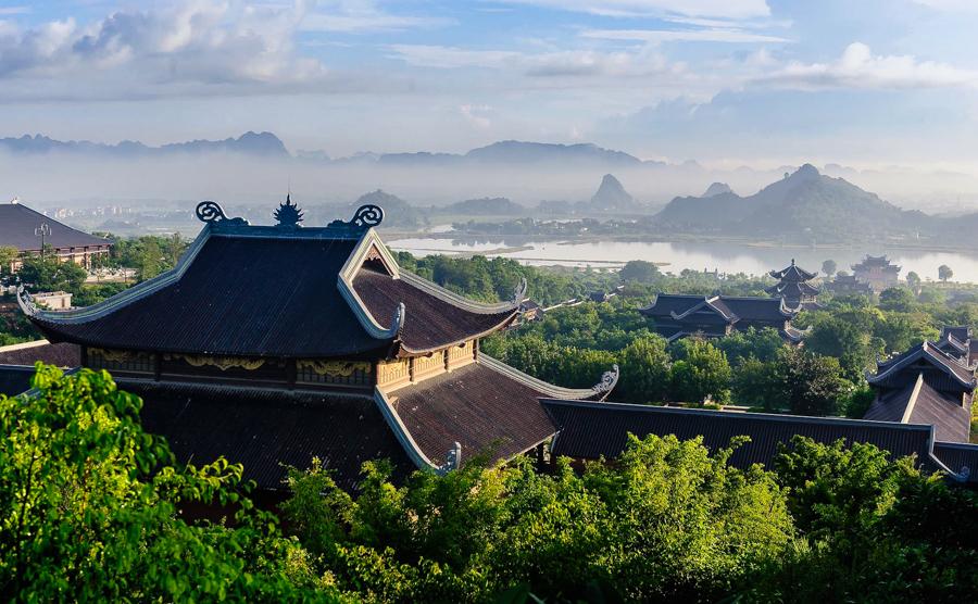 Panorama view of Bai Dinh Pagoda